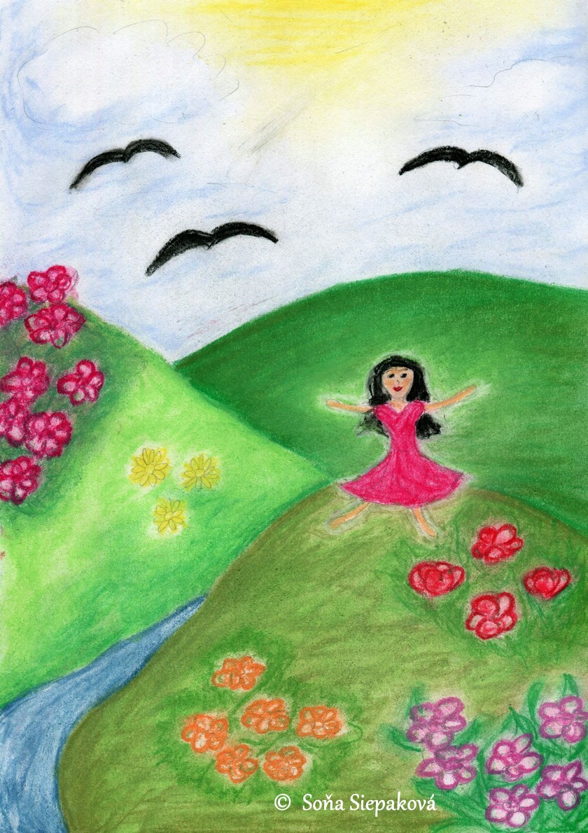 A girl on a hill. Illustration by Sona Siepakova