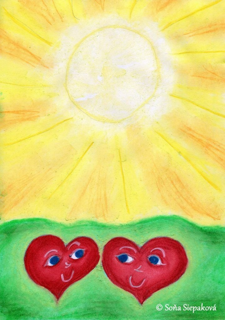 Two Hearts In The Sun. Illustration by Sona Siepakova
